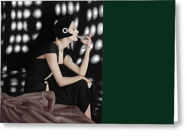 A Model Wearing A Branell Dress Greeting Card by Karen Radkai