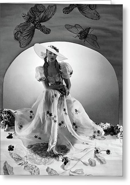 A Model Wearing A Bridesmaid Dress Greeting Card by Horst P. Horst