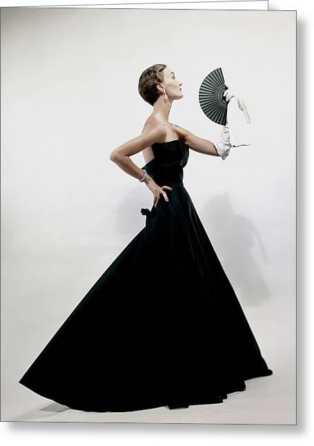 A Model Wearing A Christian Dior Dress Greeting Card by Erwin Blumenfeld
