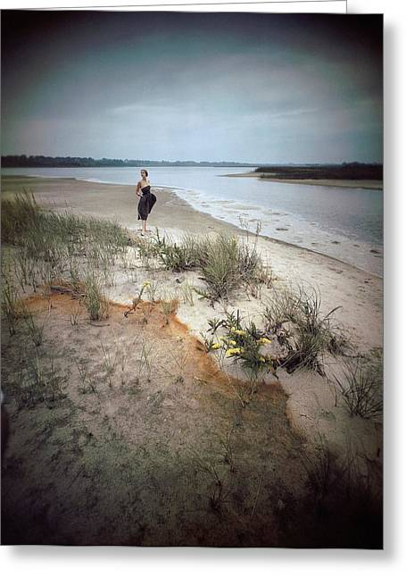 A Model Wearing A Dress On A Beach Greeting Card by Serge Balkin