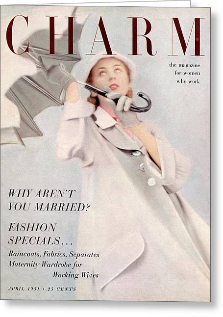 A Model Wearing A Duster Coat By Duchess Royal Greeting Card by Milton Greene