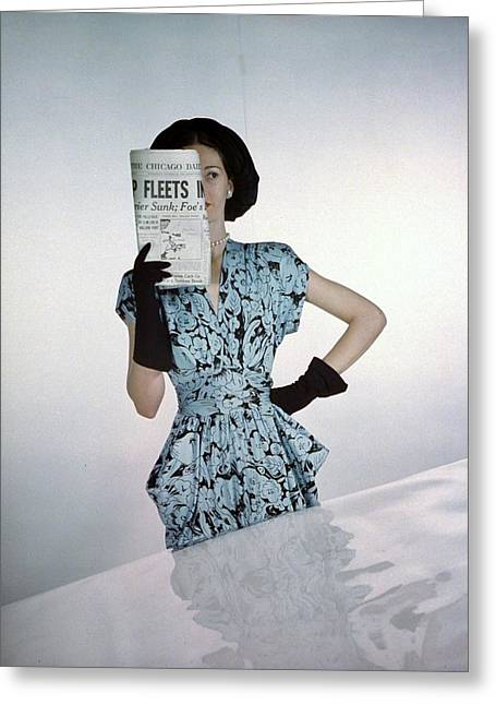 A Model Wearing A Floral Blue Dress Greeting Card by Constantin Joff?