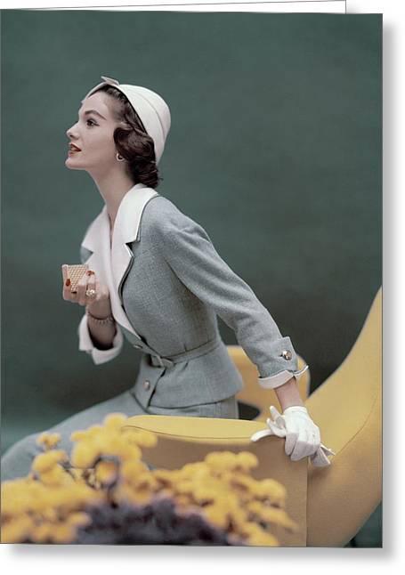 A Model Wearing A George Carmel Suit Greeting Card by Karen Radkai