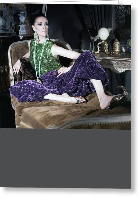 A Model Wearing A Glittery Top And Velvet Pants Greeting Card by Horst P. Horst