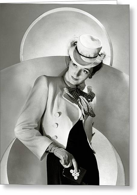 A Model Wearing A Jacket And Hat Greeting Card by Horst P. Horst