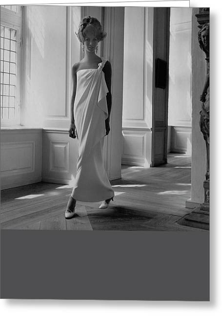 A Model Wearing A Jean Louis Gown Greeting Card by Horst P. Horst