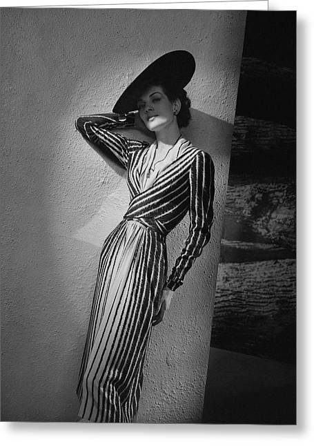 A Model Wearing A Lucien Lelong Dress Boucheron Greeting Card by Andr? Durst