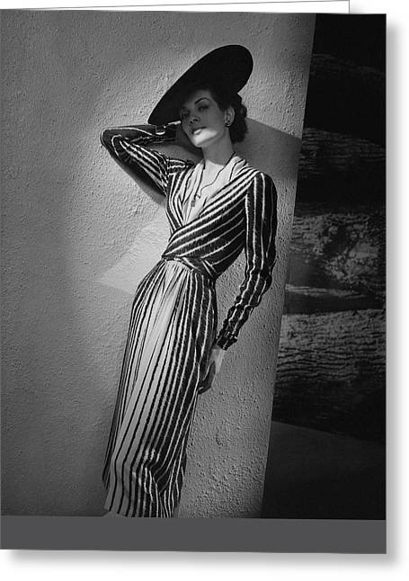 A Model Wearing A Lucien Lelong Dress Boucheron Greeting Card by Andre Durst