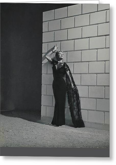 A Model Wearing A Mainbocher Dress Greeting Card by Horst P. Horst