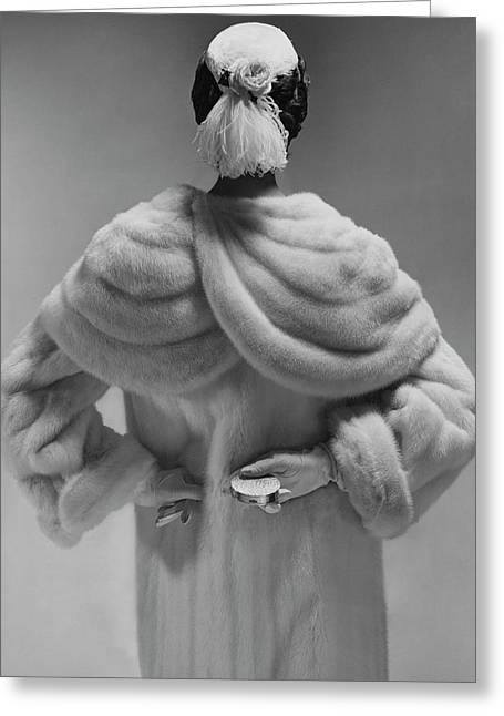 A Model Wearing A Mink Coat Greeting Card by Erwin Blumenfeld