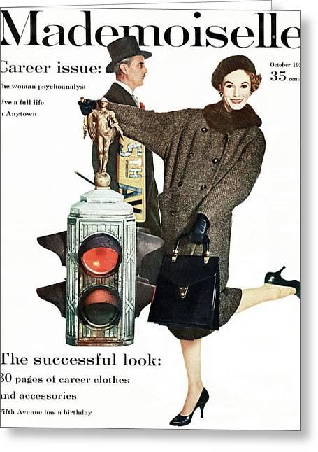 A Model Wearing A Modelia Tweed Coat Greeting Card by Stephen Colhoun