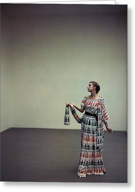 A Model Wearing A Patterned Dress Greeting Card by Horst P. Horst