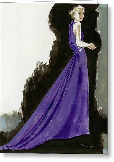 A Model Wearing A Purple Evening Dress Greeting Card by Pierre Mourgue