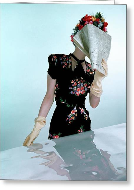 A Model Wearing A Rayon Crepe Dress Greeting Card by Constantin Joff?