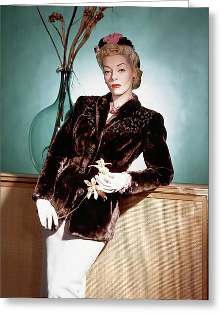 A Model Wearing A Sealskin Jacket Greeting Card by Horst P. Horst