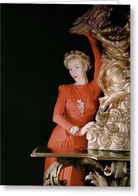 A Model Wearing A Silk Jersey Dress Greeting Card by Horst P. Horst