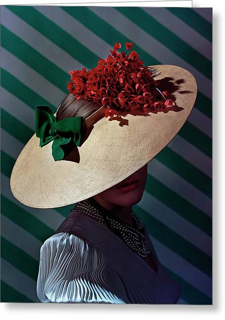 A Model Wearing A Straw Hat Greeting Card by Andr? Durst