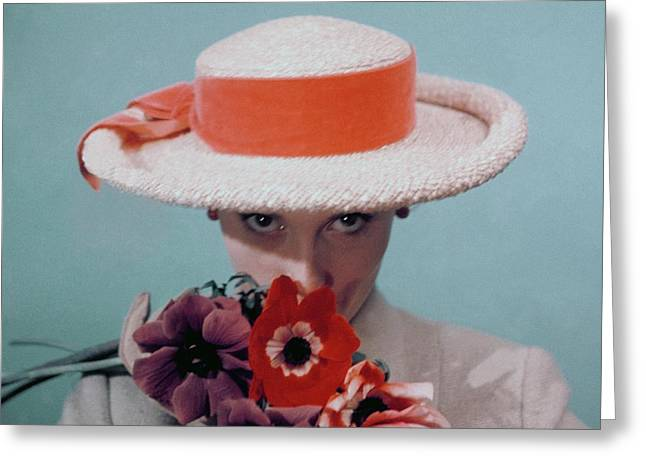 A Model Wearing A Straw Hat Greeting Card by Clifford Coffin