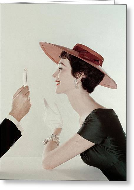 A Model Wearing A Sun Hat And Dress Greeting Card by John Rawlings