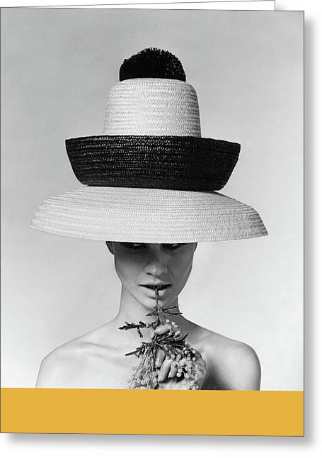 A Model Wearing A Sun Hat Greeting Card by Karen Radkai