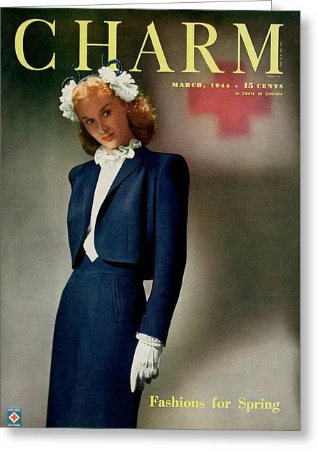 A Model Wearing A Swansdown Jacket Greeting Card by  Roedel-Farkas