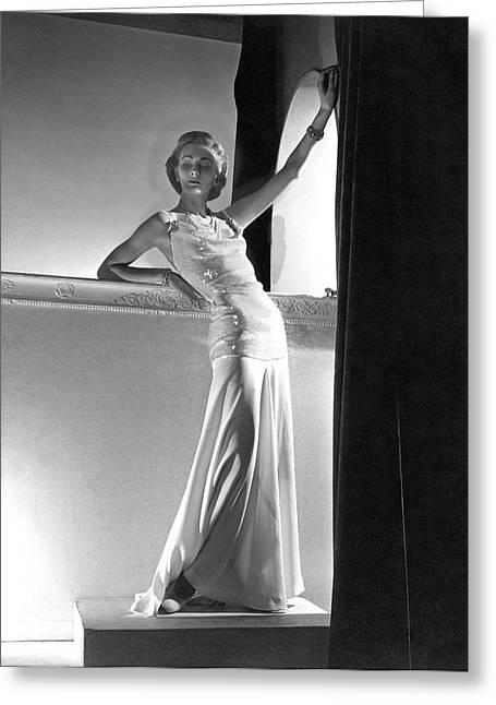 A Model Wearing A Sweater And Skirt Greeting Card by Horst P. Horst