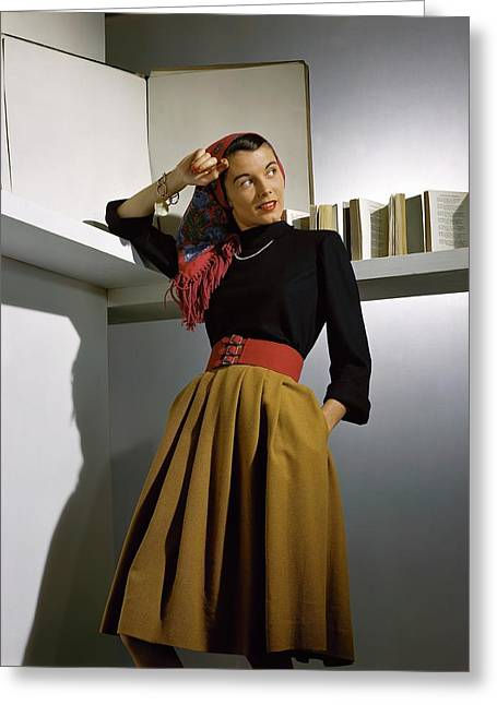 A Model Wearing A Sweater Greeting Card by Horst P. Horst