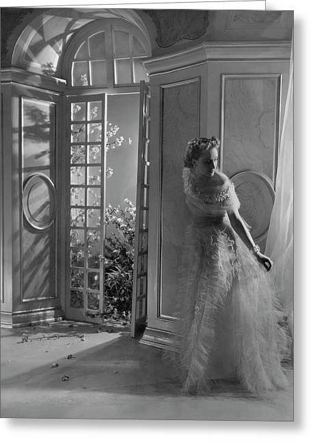 A Model Wearing A Tulle Dress Greeting Card by Horst P. Horst
