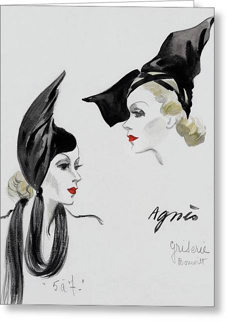 A Model Wearing An Agnes Hat Greeting Card by  David