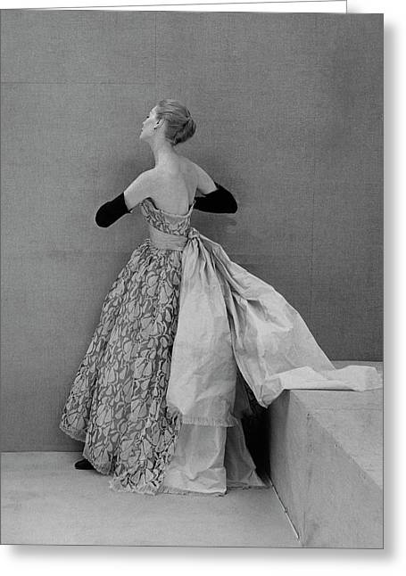 A Model Wearing An Evening Gown Greeting Card by Henry Clarke
