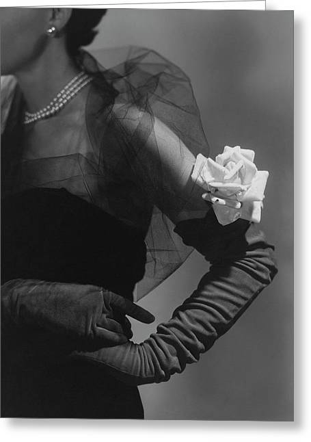 A Model Wearing And Velvet Rose Greeting Card by Horst P. Horst