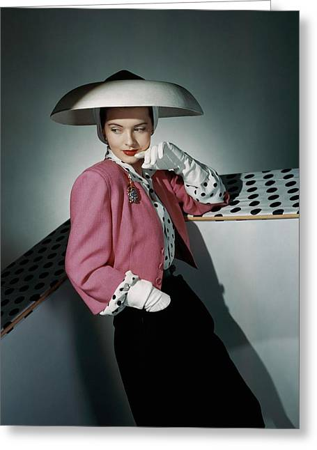 A Model Wearing Arnold Constable And Carolyn Greeting Card by Horst P. Horst