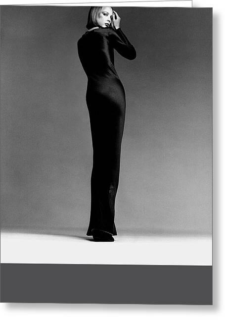 A Model Wearing Halston Greeting Card by Francesco Scavullo
