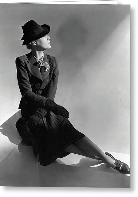 A Model Wearing Molyneux And A Hat By Descat Greeting Card by Horst P. Horst