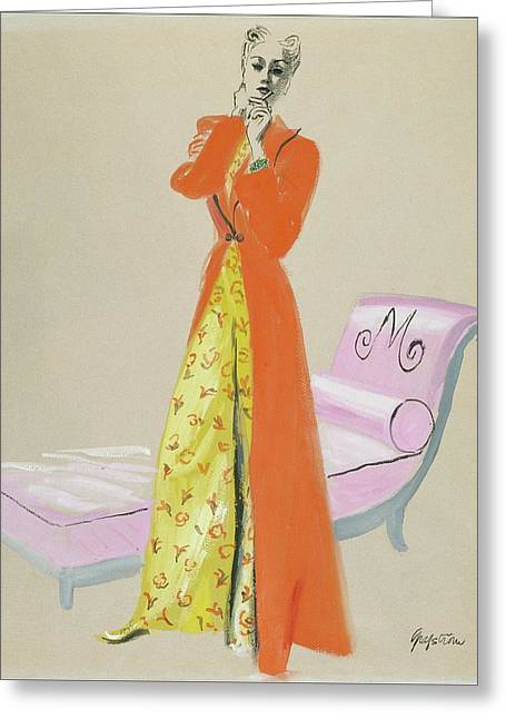 A Model Wearing Pajamas Greeting Card by R.S. Grafstrom