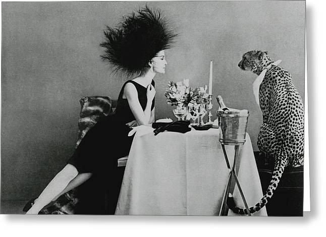 A Model With A Cheetah Greeting Card by Leombruno-Bodi
