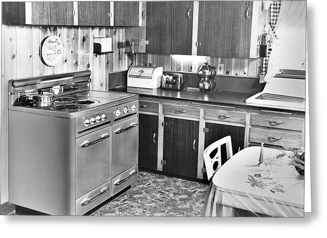 A Modern Kitchen Greeting Card by Underwood Archives