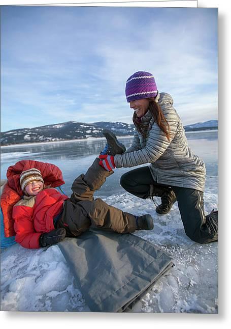 A Mom Helping A Little Boy Get Ready Greeting Card