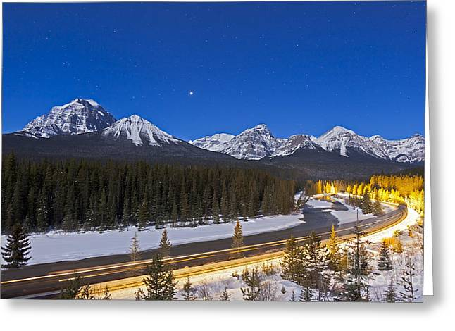 A Moonlit Nightscape Over The Bow River Greeting Card