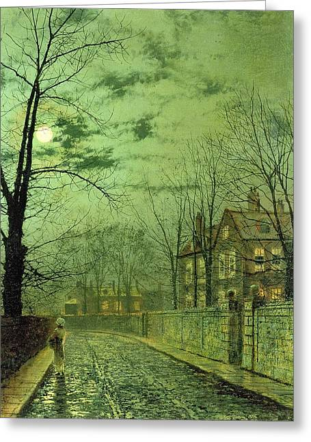 A Moonlit Road Greeting Card by John Atkinson Grimshaw