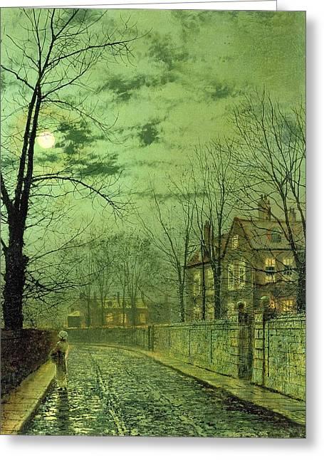 A Moonlit Road Greeting Card by John Atkinson Grimshaw
