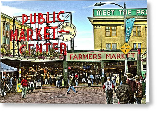 A Morning At Pikes Place Market Greeting Card by Gary Neiss