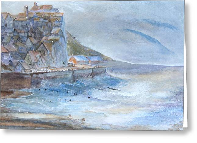 A Morning At The Sea Side Greeting Card by Theo Brush