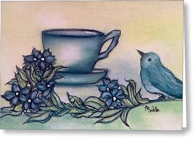 A Morning Visit Greeting Card by Annamarie Sidella-Felts