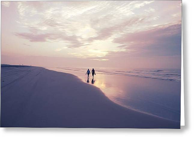 A Morning Walk On The Beach Greeting Card by Bill Cannon