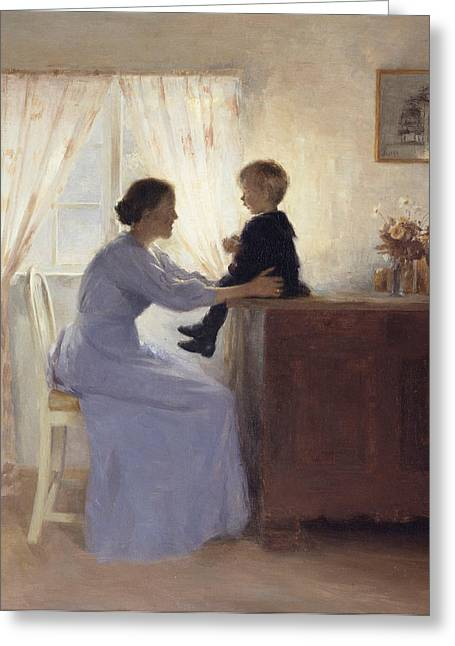 A Mother And Child In An Interior Greeting Card by Peter Vilhelm Ilsted