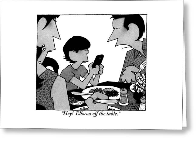 A Mother, Father And Son At Family Dinner Greeting Card