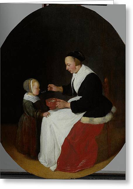 A Mother Feeding The Child Pap Greeting Card by Litz Collection