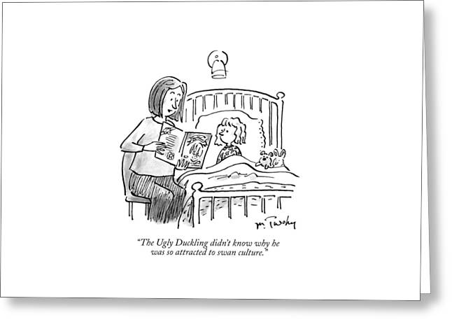 A Mother Reads A Bedtime Story To Her Daughter Greeting Card by Mike Twohy