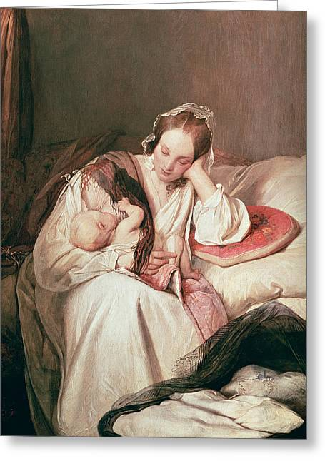 A Mothers Love, 1839 Greeting Card by Josef Danhauser